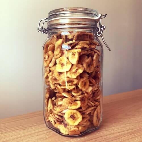 Bocal de fruits secs bananes